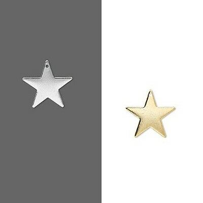 10 17mm Five Point Star Flat Focal Drop Charms Plated Over Brass Base Metal