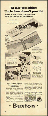 1942 WW2 vintage ad for BUXTON WALLETS, for servicemen -090712