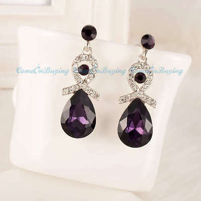 Fashion Silver Water Drop Purple Glass Beads White Crystal Stud Dangle Earrings
