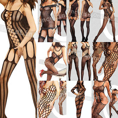 Various Bodystocking Fishnet Teddy Babydoll Bodysuit Open Crotch Sexy Lingerie