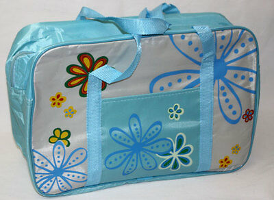 Baby Nappy Changing Overnight Travel Bag Flowers Design BLUE