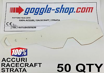 50 qty GOGGLE-SHOP TEAR OFFS for 100% MOTOCROSS GOGGLES ACCURI STRATA RACECRAFT