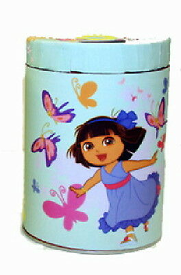 Dora the Explorer Large Round Illustrated Tin Coin Bank Style C, NEW UNUSED