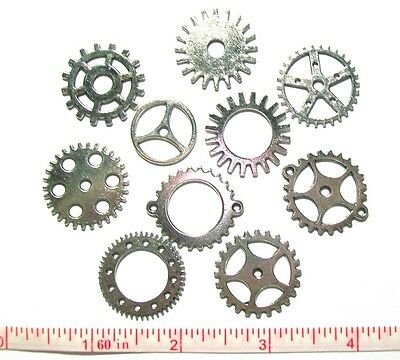 Gears Cogs Clock Parts Antiqued Silver Steampunk Altered Art Jewelry Lot of 20