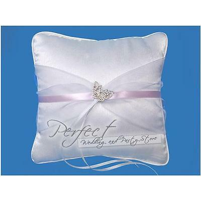 White Square Wedding Day Ring Cushion Pillow Silver Butterfly Design