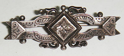 VINTAGE ANTIQUE STERLING 925 SOLID SILVER SWEETHEART ETCHED BROOCH VICTORIAN