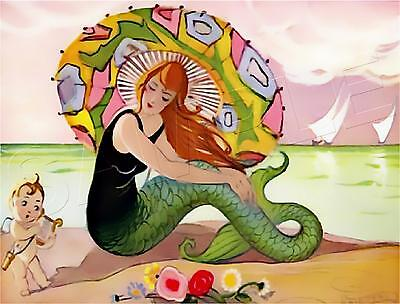 Vintage French Art Deco Mermaid #2 Parasol Beach Cupid *Canvas* Art Print Giclee