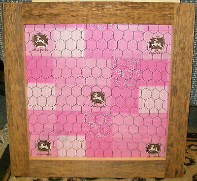 """**NEW** Country Style Pink John Deere Barnboard Chicken Wire Hanging - 21"""" x 20"""""""