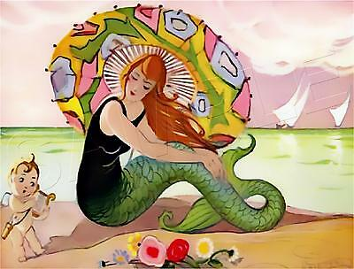 Vintage French Art Deco Mermaid #2 Parasol Beach Cupid *Canvas* Art Print Large