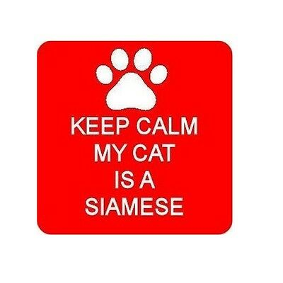 Keep Calm My Cat Is A Siamese Square Fridge Magnet Novelties