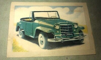 1951 WILLYS JEEP Jacques Chocolates BELGIUM Trade Swap Card