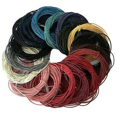 100% Real Genuine Leather Cord - 1mm or 2mm – Choice of Colours and Length (1B)