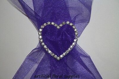 heart / rectangle DIAMANTE BUCKLE ribbon slider wedding chair sash card craft