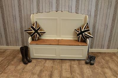 3Ft Handmade Pine Settle Painted In Farrow & Ball With Waxed Seat Bespoke