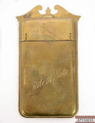 VTG Rite-a-Note Brass Wall Hanging Note Pad Holder Superior Accessory Co. CA