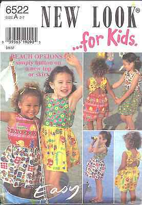 Vintage NEW LOOK SEWING Pattern 6522 Little Girl Top Skirt  2-7 UNCUT FF OOP SEW