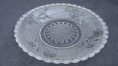 1880s EAPG Pattern Glass Rose in Snow, Rose, Bryce 125, 5 Inch Plate