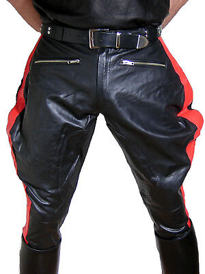 black leather pants motocycle pants BREECHES NEW leather trousers black red