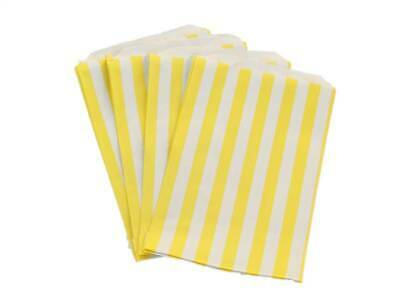 """1000 5"""" x 7"""" Yellow Candy Stripe Paper Sweet Buffet Gift Shop Party Food Bags"""