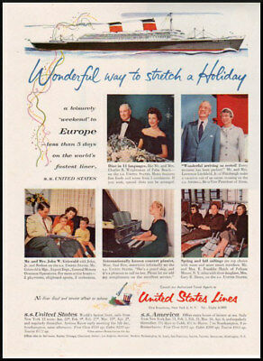 1956 vintage ad for United States Cruise Line to Europe
