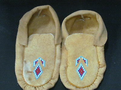 Native American  Home Tanned Moose Hide Moccasins10 Inches Bewitching  Design