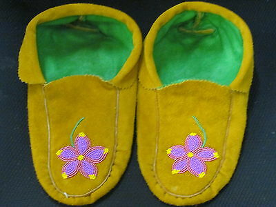 Home Tanned Moose Hide Moccasins 10 1/ 2 Inches Long Shimmering Pink  Flower