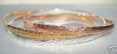 3-Tone Sterling Silver 14K Gold Hawaiian Triple Designed Interlinked Bangles #2