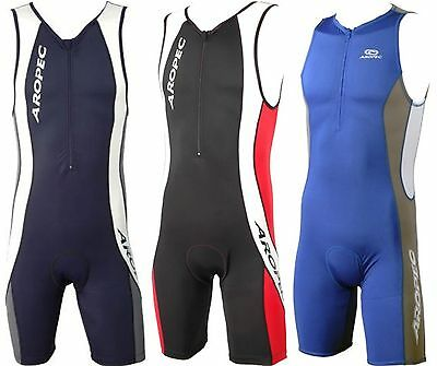 Triathlon Padded One Piece Suit Running Swimming Cycling Mens