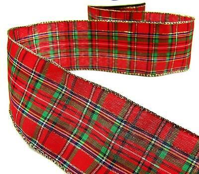 "5 Yd Country Christmas Rustic Becky Gingham Plaid Edge Red Wired Ribbon 1 1//2/""W"