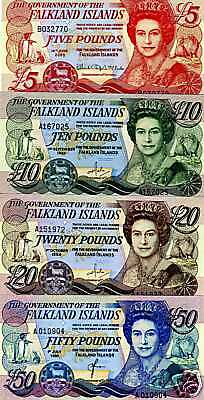 Falkland Islands, Complete SET, 5;10;20;50 pounds, 1984-2011 UNC