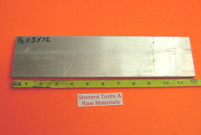 "1/2"" X 3"" ALUMINUM 6061 FLAT BAR 12"" long Solid T6511 Plate New Mill Stock .50"""