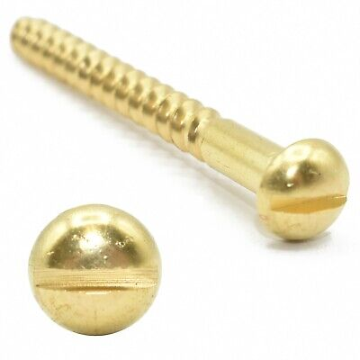 4g (2mm THICK) SOLID BRASS SLOTTED ROUND HEAD TRADITIONAL WOOD SCREWS