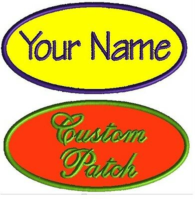 4 Custom Embroidered Name Patches Motorcycle Biker Vest Tags IRON ON Badges OVAL