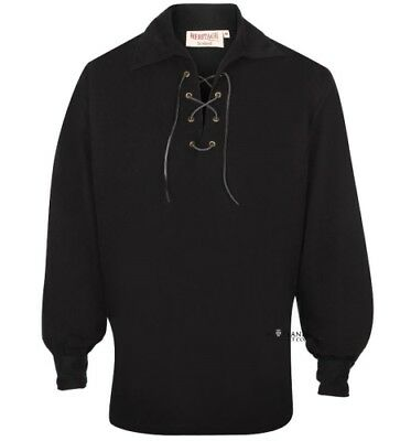 Luxury Microfibre Black Scottish Ghillie Shirt - Peached Finish XS - 6XL