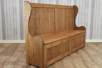 Large Handmade Rustic Pine Storage Settle Hall Bench Pew Made In Great Britain