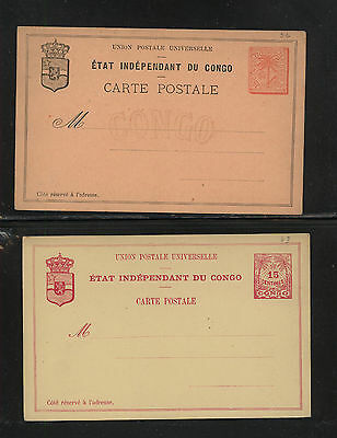 Belgian  Congo  2  early  postal  cards        unused    SSS0719