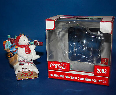 2003 Cavanagh Coca Cola Pearlescent Porcelain Ornament - Polar Bear on Chimney