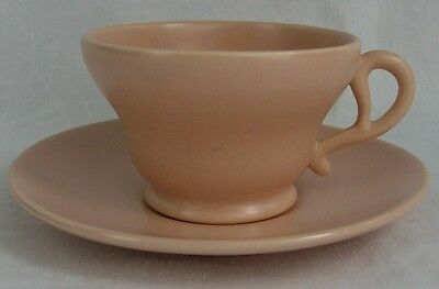 """Franciscan China USA El Patio-Coral-Matte Footed Cup & Saucer Set 2 1/4""""  Mint"""