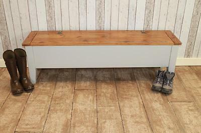 Handmade 7Ft Rustic Pine Kitchen Bench With Storage Settle Hall Bench Uk