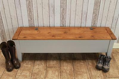 Bespoke Handmade Pine Hall Bench Storage Kitchen Bench 8Ft Farrow & Ball Base