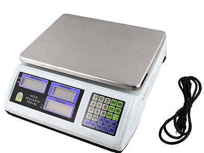 60LB 30KG Digital Price Computing Scale Food Produce Meat Deli Kitchen 66LB