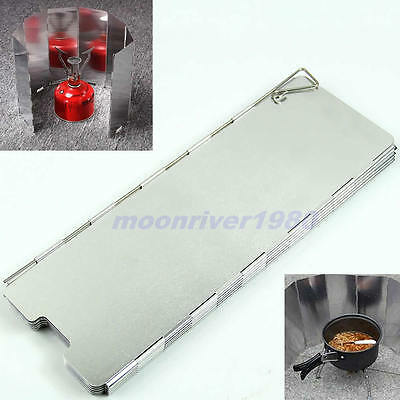 10 Plates Fold Outdoor Camping Stove Wind Shield Screen BBQ Cookout Windbreak