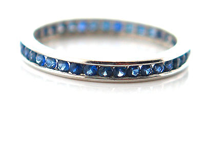 1.00 CT Natural Round Brilliant Cut Blue Sapphire Eternity Bands14K White Gold