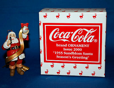 2000 Cavanagh Coca Cola Ornament - 1955 Sundblom Santa Season's Greeting