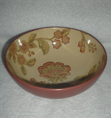 FIFTH 222 JACOBEAN  RED  SOUP  CEREAL BOWL   VERY NICE USED CONDITION