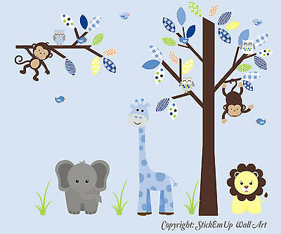 Nursery Wall Decals - Baby Boy's Room Wall Stickers - Kids Room Decor - Blue