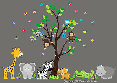 Wall Stickers Baby Room - Jungle Animal Wall Decals - Baby Room Decor - Babies