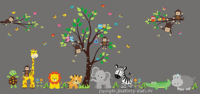 "Safari Jungle Animals Repositionable Reusable Wall Decal Baby Nursery 88"" x 165"""
