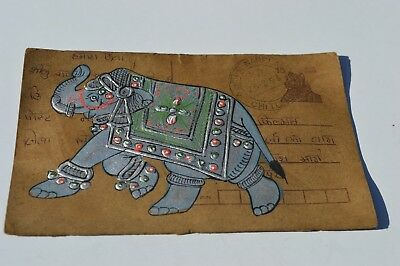 A Lovely Old Rajasthan Miniature Painted Indian Postcard Of A  Elephant 107