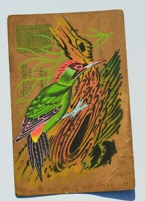 A Lovely Old Rajasthan Miniature Painted Indian Postcard Of A Woodpecker 109